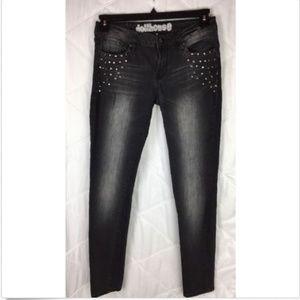 Dollhouse Black Studded Embellished Skinny Jeans